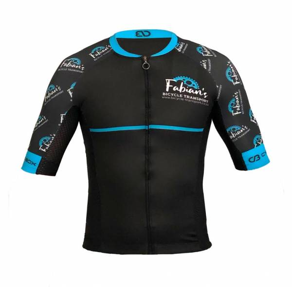 Fabians Bicycle transport cycling jersey black with logo on left chest and blue stripe in the middle logo scrambled on sleeve and back