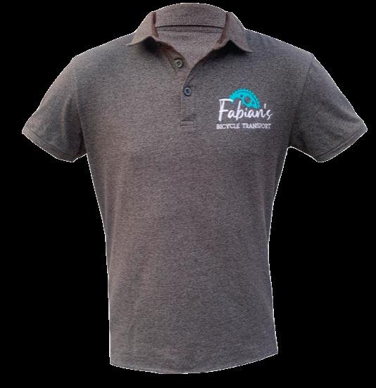 grey golf shirt slim fit bicycle transport logo